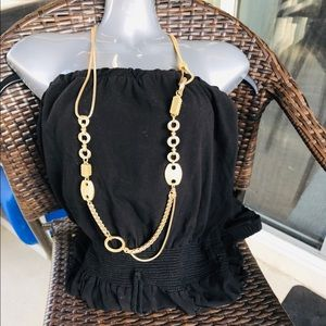 CHICO'S GOLD TONE DOUBLE STRAND NECKLACE